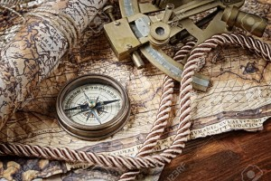 18232878-vintage-still-life-with-compass-sextant-and-old-map-Stock-Photo