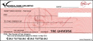 Blank check from Universe